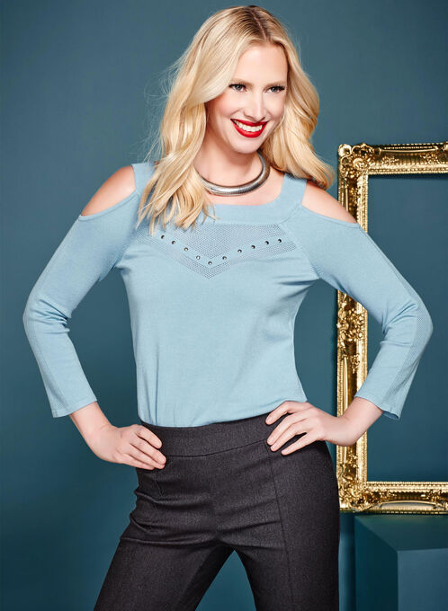 Pointelle Detail Cold Shoulder Sweater, Blue, hi-res