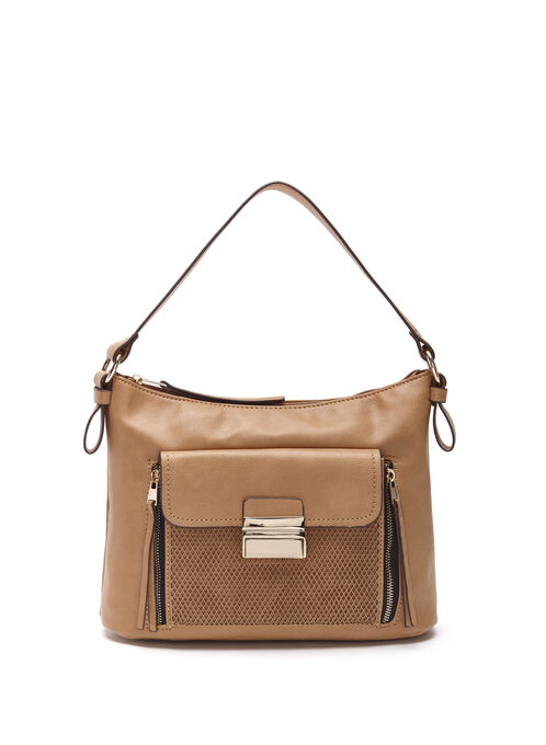 Perforated Pocket Hobo Bag, Brown, hi-res