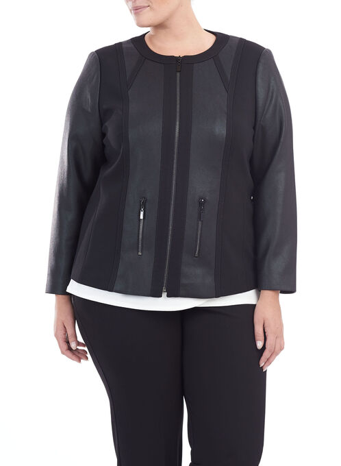 Ponte Zipper Trim Jacket , Black, hi-res