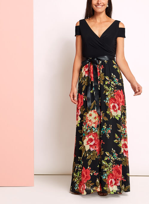 Floral Chiffon Cold Shoulder Dress, Black, hi-res