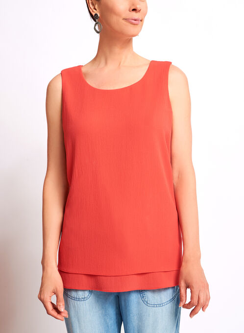 Sleeveless Double Layer Chiffon Top, Red, hi-res