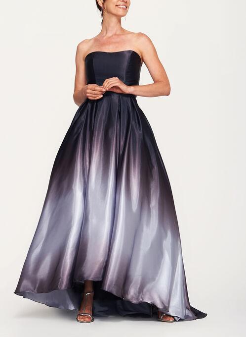 Ombré High-Low Satin Ball Gown, Grey, hi-res