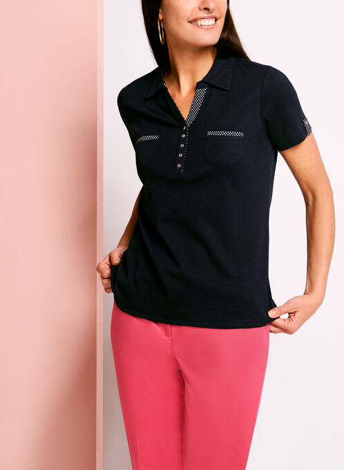 Dual Pocket Dot Print Trim Polo, Blue, hi-res