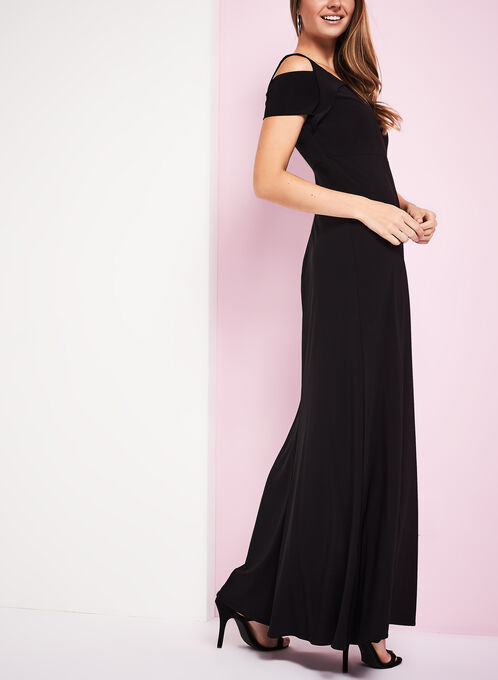Jersey Cold Shoulder Gown, Black, hi-res