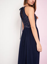 Glitter Lace Keyhole Dress, Blue, hi-res