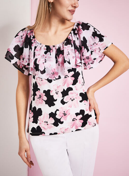 Off The Shoulder Floral Print Top, Red, hi-res