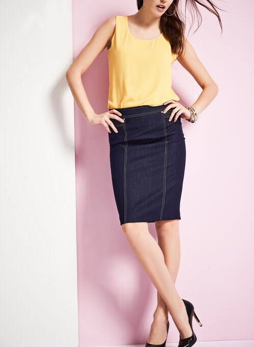 Denim Pencil Skirt, Blue, hi-res