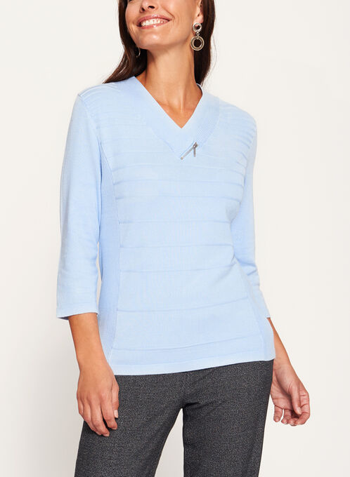 V-Neck Zipper Trim Sweater, Blue, hi-res