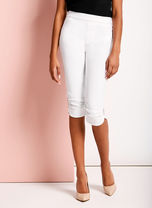 Simon Chang Ruched & Rhinestone Trim Capris, White, hi-res