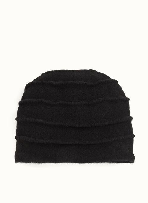 Pleated Wool Hat , Black, hi-res