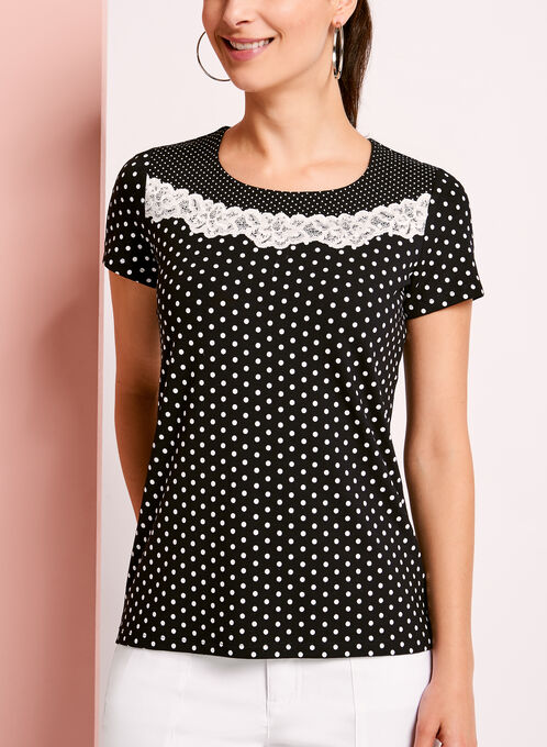 Lace Trim Dot Print T-Shirt, Blue, hi-res