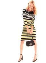 3/4 Sleeve Stripe Print Dress, White, hi-res