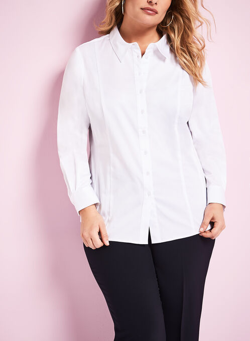3/4 Sleeve Button Front Blouse , White, hi-res