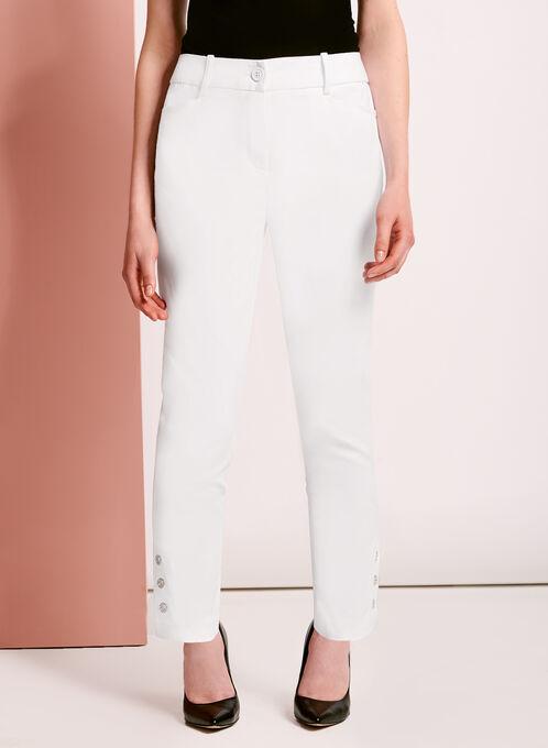 Pantalon 7/8 satiné avec oeillets métal, Blanc, hi-res