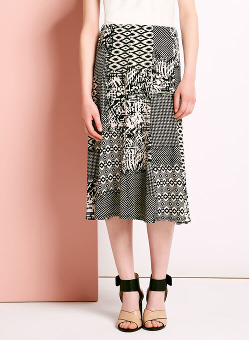 Jupe trapèze motif patchwork graphique, Noir, hi-res