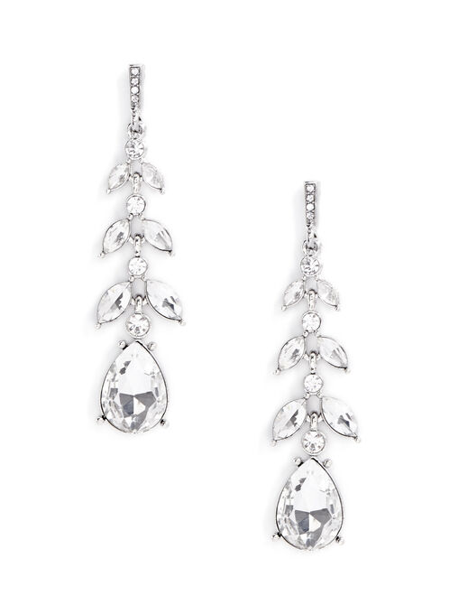 Crystal Chandelier Earrings , Silver, hi-res