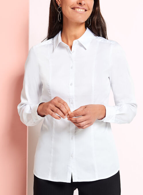 Long Sleeve Button Front Blouse, White, hi-res