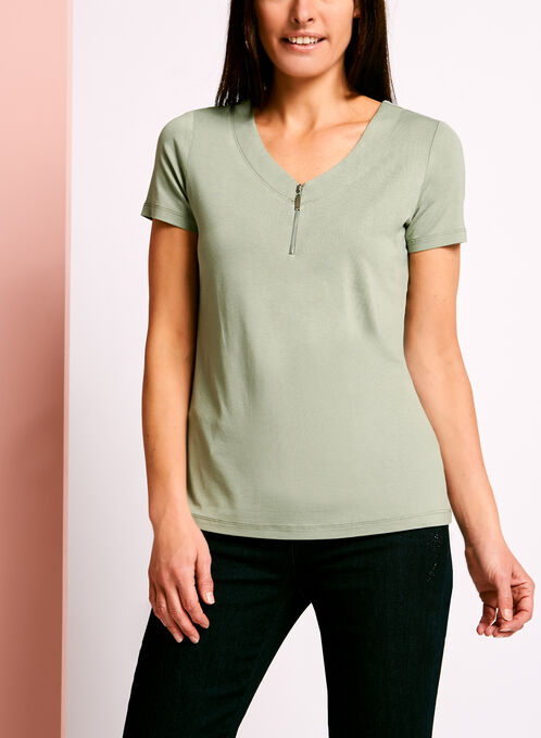 Zip Detail Double V-Neck T-Shirt, Green, hi-res