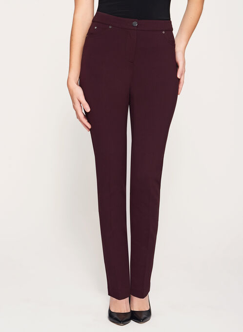 Modern Fit Slim Leg Ponte Pants, Purple, hi-res