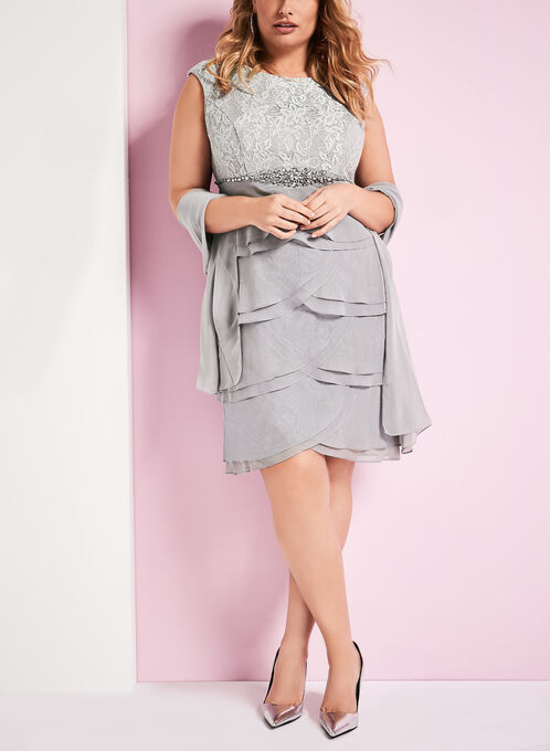 Lace & Chiffon Dress with Scarf, Silver, hi-res