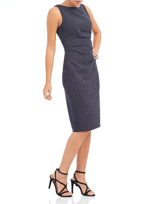Sleeveless Metallic Ruched Dress, Grey, hi-res