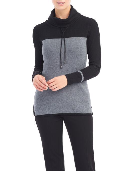 Drawstring Cowl Neck Sweater, Black, hi-res