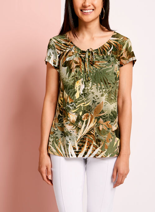 Keyhole Neck Palm Print Top, Yellow, hi-res