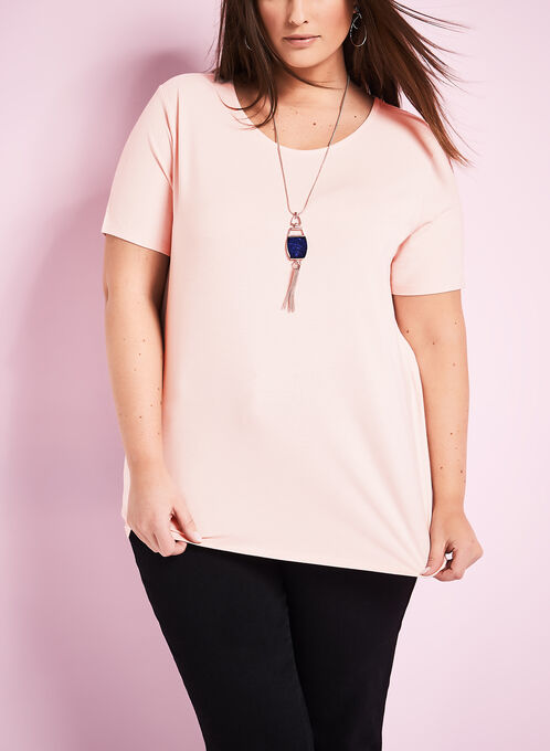 Scoop Neck T-Shirt, Pink, hi-res