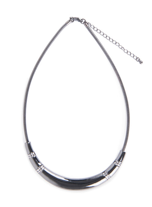 Snake Chain Crystal Necklace, Grey, hi-res