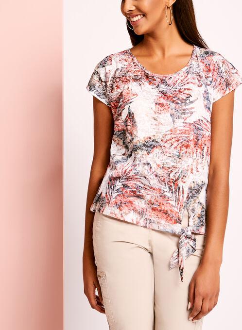 Tropical Burnout Print Tie Front T-Shirt, Orange, hi-res