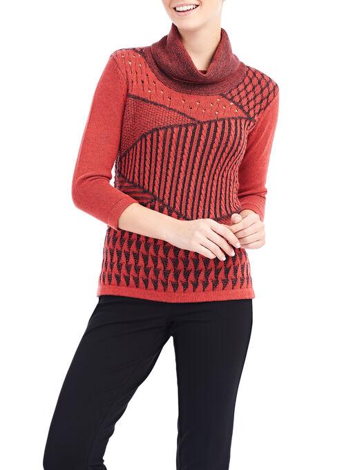 Patchwork Print Cowl Neck Sweater, Orange, hi-res