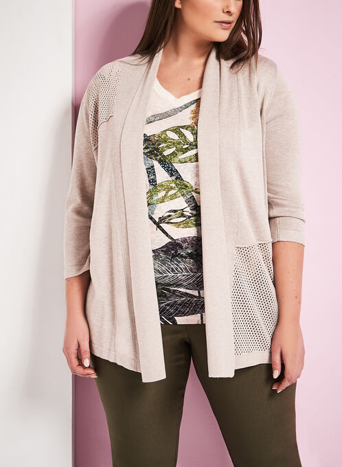 3/4 Sleeve Pointelle Cardigan, Grey, hi-res