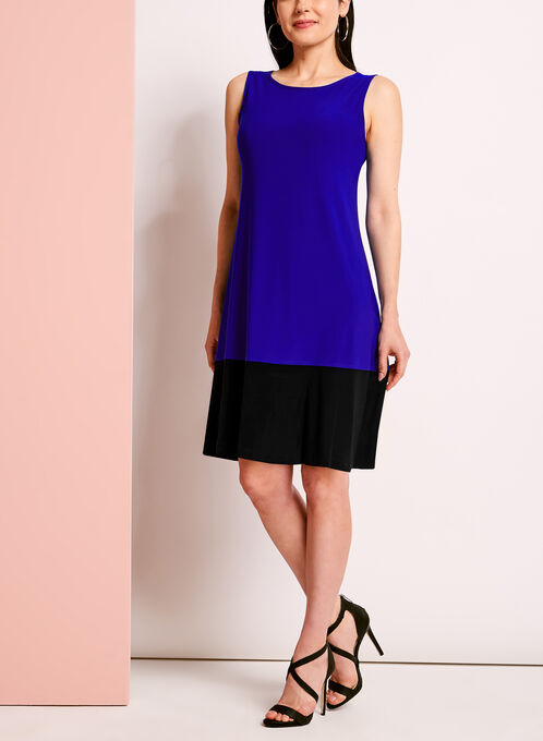 Sleeveless Colour Block Trapeze Dress, Black, hi-res