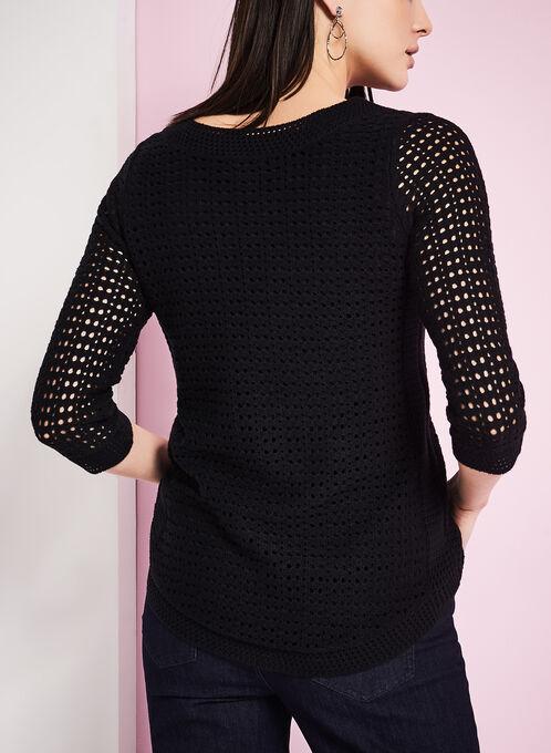 3/4 Sleeve Pointelle Sweater, Black, hi-res
