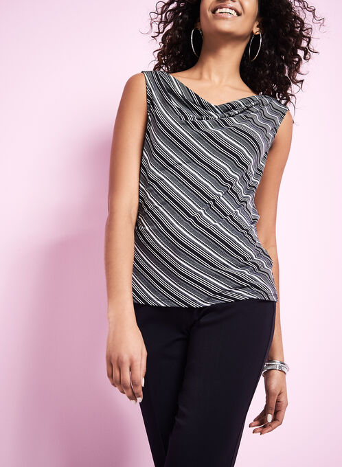 Stripe Print Drape Neck Top , Black, hi-res