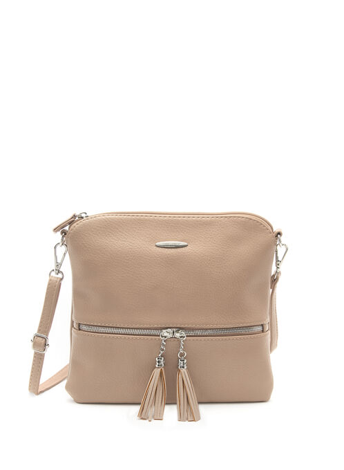 Tassel Trim Crossbody Bag, Brown, hi-res