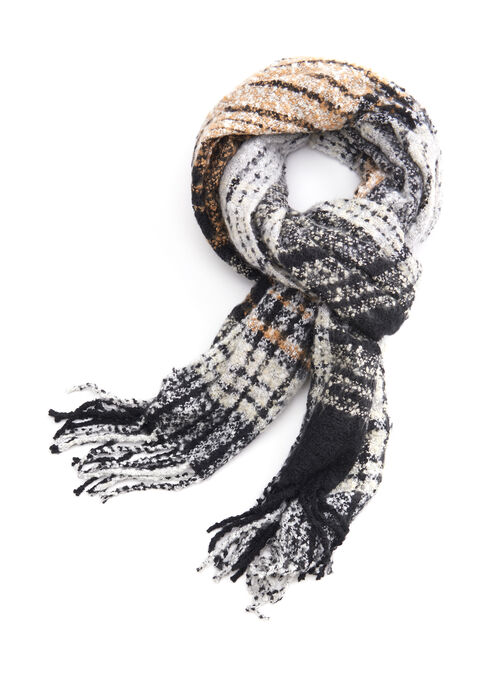 Plaid Print Oblong Scarf, Black, hi-res