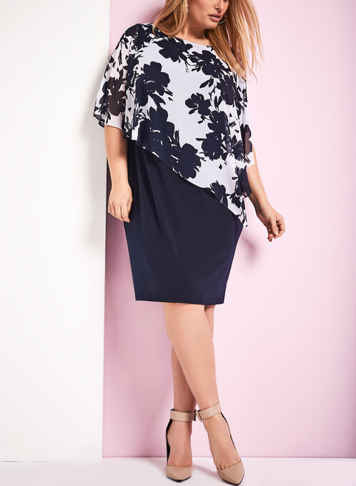 Sleeveless Floral Print Poncho Dress, Blue, hi-res