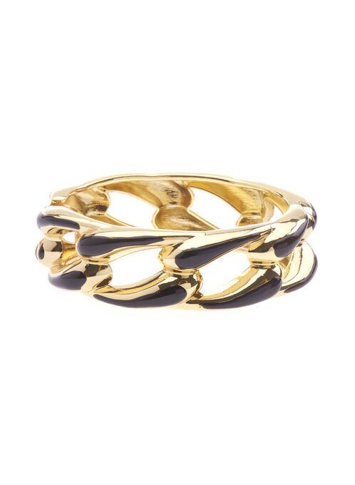 Chain Link Bangle Bracelet , Black, hi-res