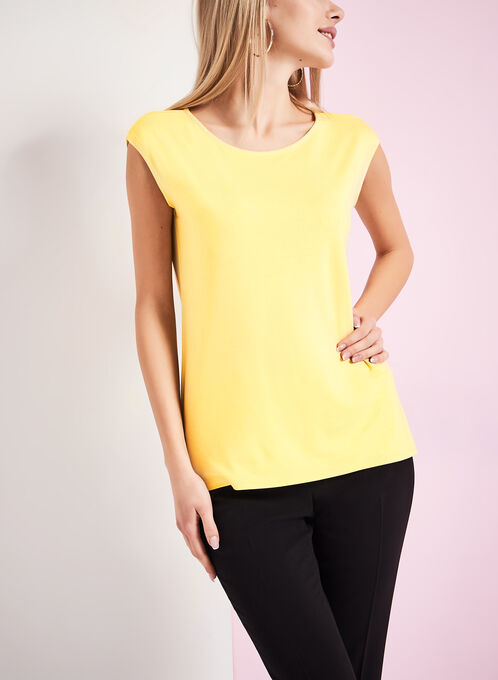 Boat Neck T-Shirt , Yellow, hi-res