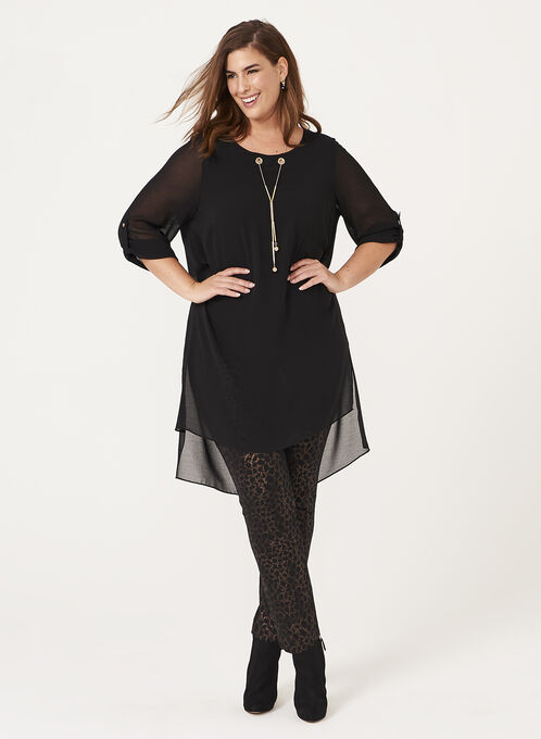 3/4 Sleeve Chiffon Eyelet Detail Tunic Top, Black, hi-res