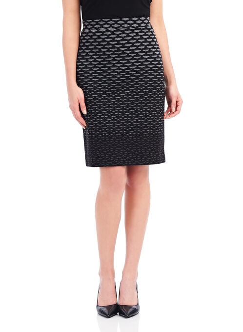 Inverted Triangle Print Pencil Skirt, Black, hi-res