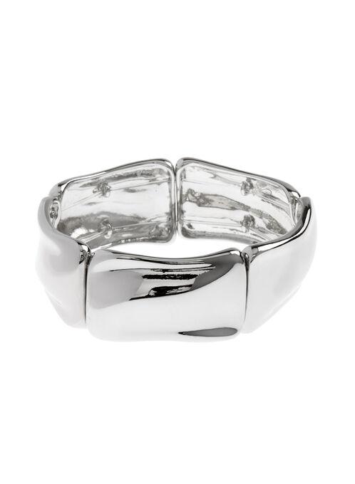 Metal Stretch Bracelet, Silver, hi-res