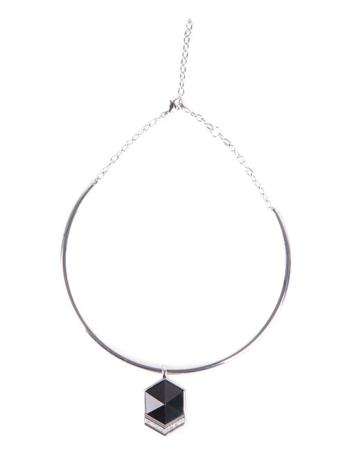 Geometric Metal Collar Necklace, Black, hi-res