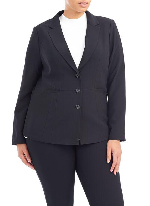 Long Sleeve Notch Collar Jacket , Black, hi-res