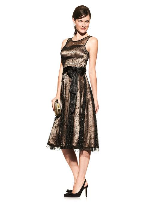 Sparkle Mesh Fit & Flare Dress, Black, hi-res