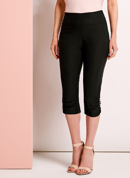 Simon Chang Ruched & Rhinestone Trim Capris, Black, hi-res