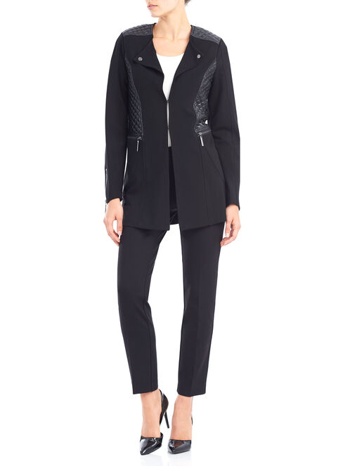 Ponte Redingote Jacket with Quilted Detail, Black, hi-res