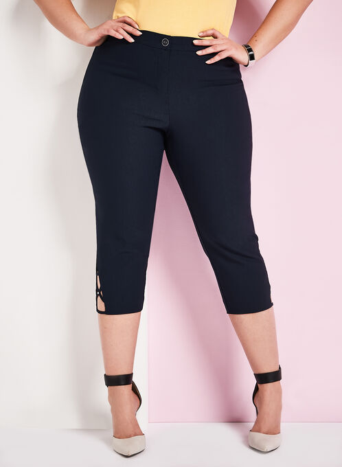 Signature Fit Bengaline Capris, Blue, hi-res