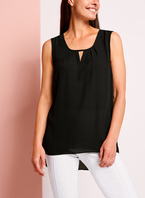 Sleeveless High-Low Blouse  , Black, hi-res